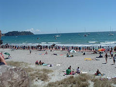 Onetangi Beach horse racing