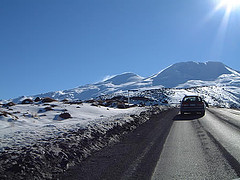 Driving to Mt Ruapehu mountain in clouds