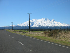 <br /> From a distance the view of Mt Ruapehu volcano